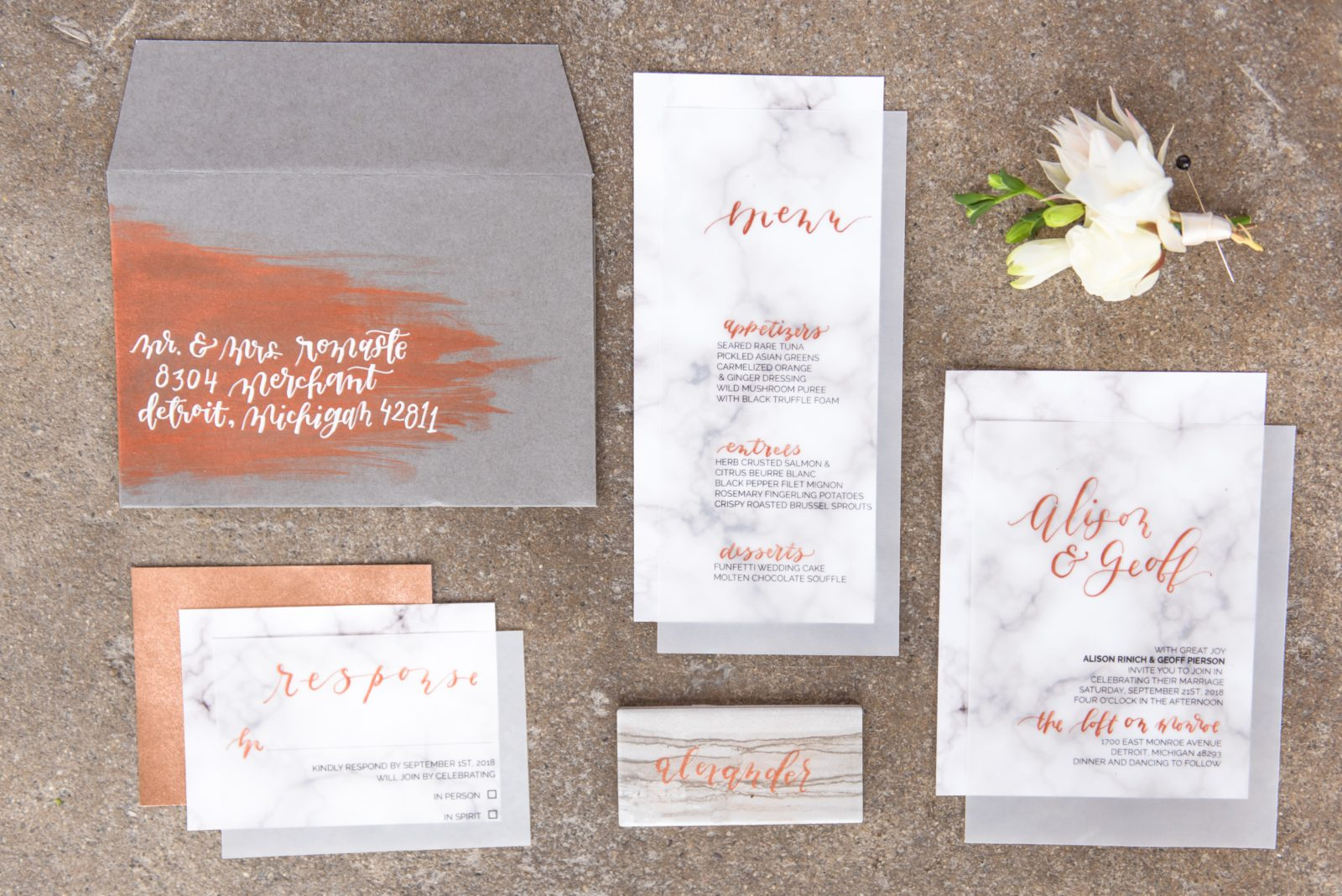 modern stationery and calligraphy northern virginia suite created by Oh Eleven Studio