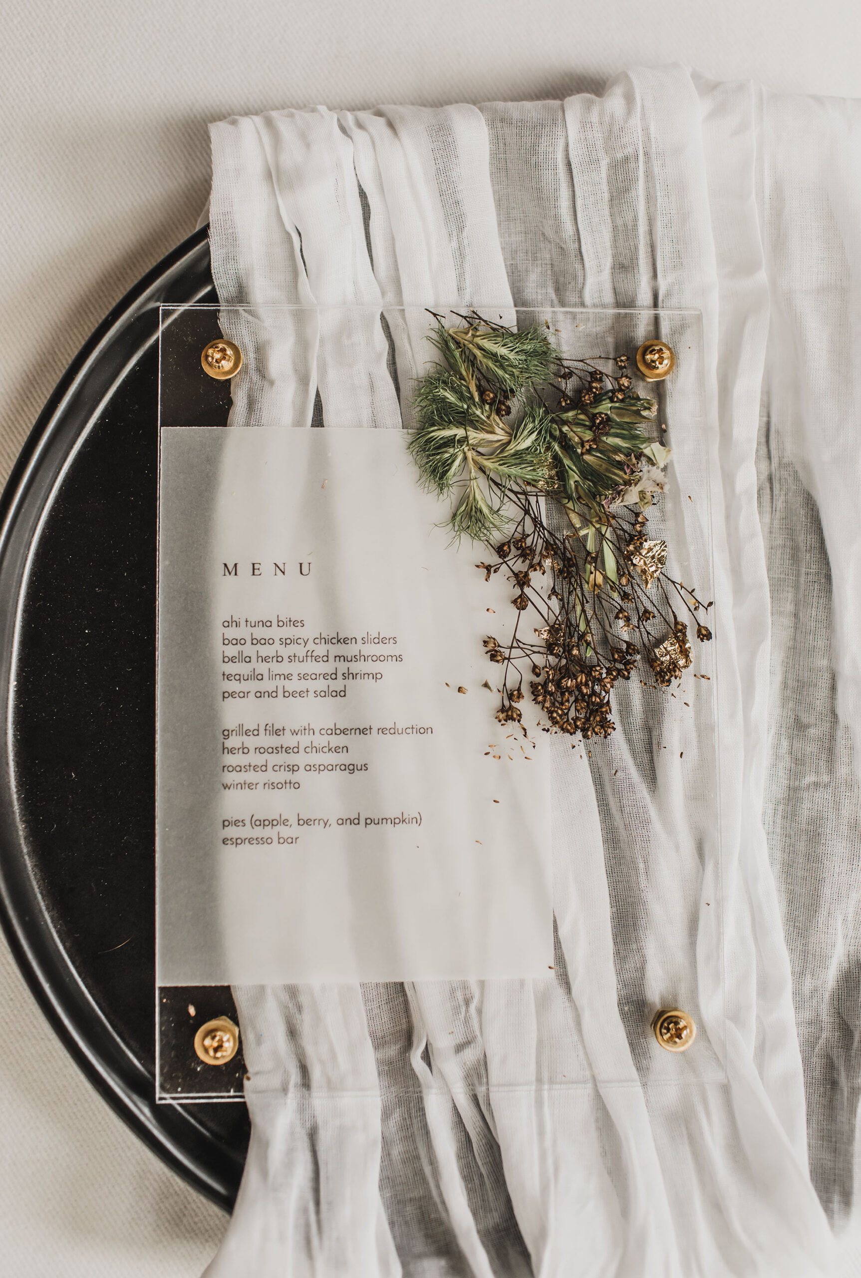 Luxury Modern Wedding Menu